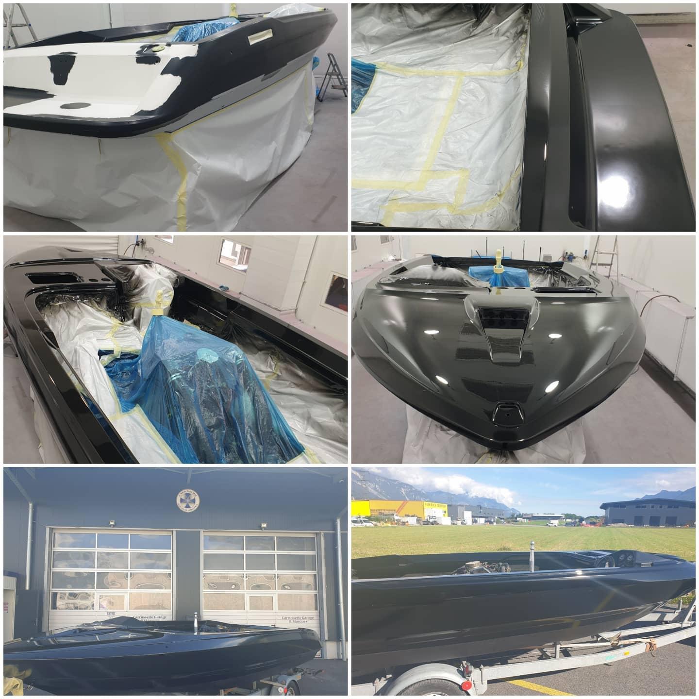 peinture en carrosserie pour un bateau
