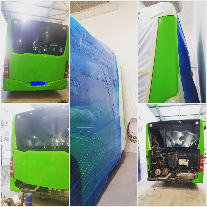 travail de carrosserie sur un bus Mercedes des TPC